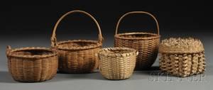Five Small Woven Splint Baskets