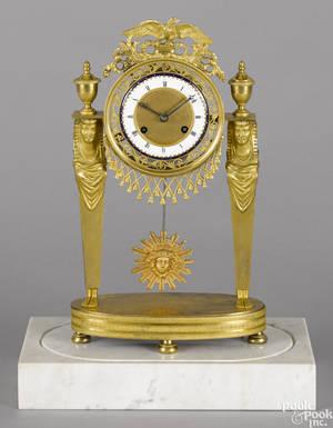 French gilt bronze Egyptian revival portico clock 19th c