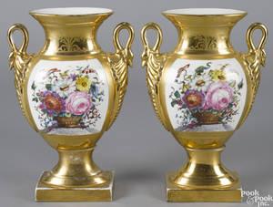 Pair of Paris porcelain garniture vases 19th c