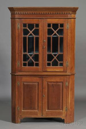 Federal Carved and Glazed Cherry Corner Cupboard