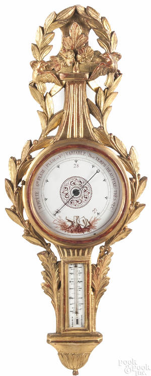 French carved giltwood barometer late 18th c