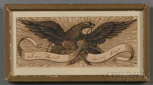 Framed Wood Engraving of an Eagle