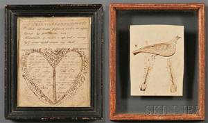 Framed Work on Paper Depicting a Bird and a Valentine