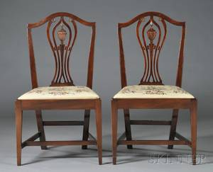 Pair of Federal Carved Mahogany Side Chairs