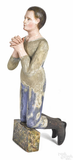 Carved and painted wood figure late 19th c