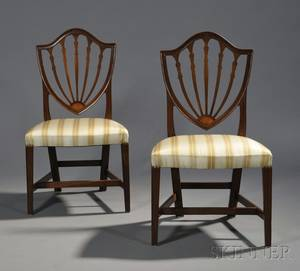 Pair of Federal Inlaid Mahogany Shieldback Side Chairs