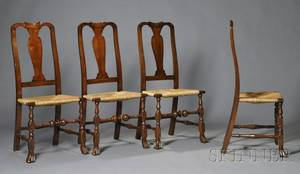Set of Four Queen Anne Maple Side Chairs