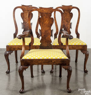 Set of seven George II style burlwood dining chairs