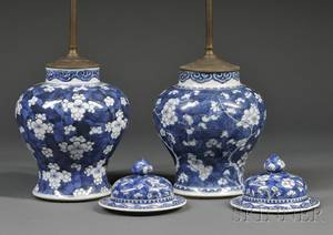 Near Pair of Chinese Export Porcelain Blue and White Floral Decorated Covered Jars Mounted as Table Lamps