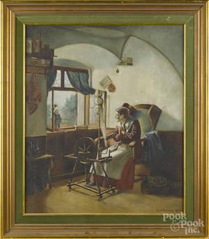 American oil on canvas interior scene