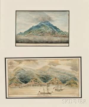 Attributed to Henry Schreiner Stellwagen American d 1866 Two Views of Caribbean Islands