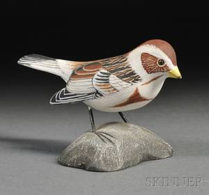 Jess Blackstone Carved and Painted Miniature Snow Bunting Figure