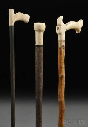 Three Scrimshaw Walking Sticks
