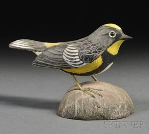 Jess Blackstone Carved and Painted Miniature Audubon Warbler Figure