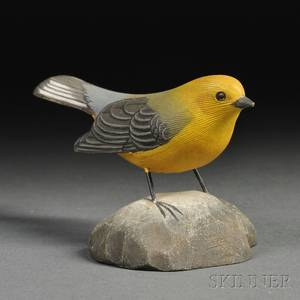 Jess Blackstone Carved and Painted Miniature Prothonotary Warbler Figure