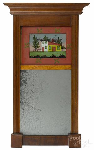 Sheraton walnut mirror
