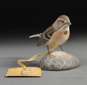 Jess Blackstone Carved and Painted Miniature Tree Sparrow Figure