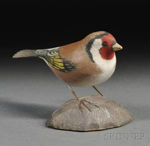 Jess Blackstone Carved and Painted Miniature European Goldfinch Figure