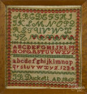 Wool on linen sampler