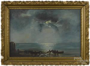 American oil on canvas moonlit coastal scene