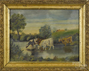 Pair of American oil on canvas bucolic landscapes