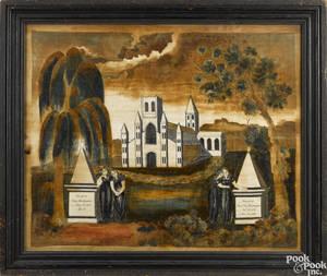 Massachusetts oil on velvet memorial theorem early 19th c