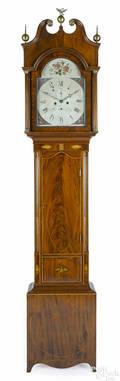 New Jersey Hepplewhite mahogany tall case clock ca 1800