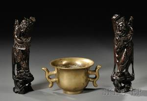 Bronze Censer and Pair of Silverinlaid Wood Carvings