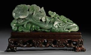 Jade Ruyi Carving on Wood Stand