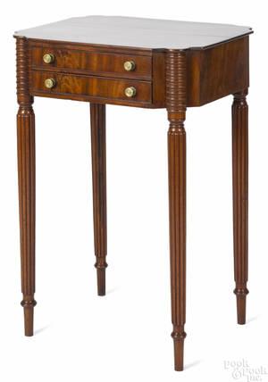 New England Sheraton mahogany sewing stand ca 1810