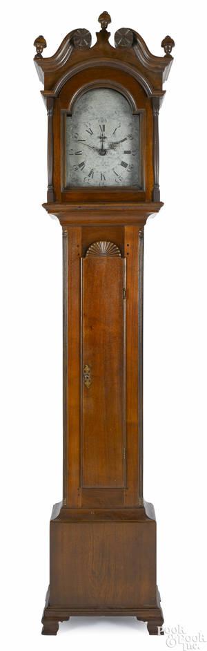 Philadelphia Pennsylvania Chippendale walnut tall case clock late 18th c