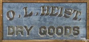 Painted canvas country store sign 19th c