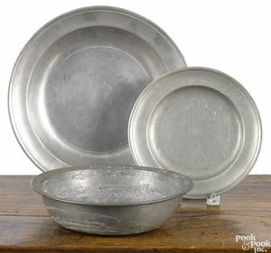 Three pieces of Philadelphia pewter late 18thearly 19th c