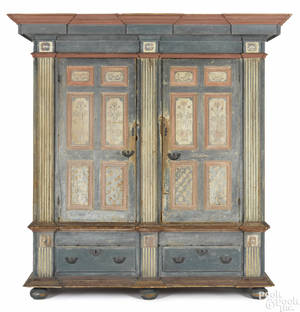 Pennsylvania painted pine architectural schrank ca 1770