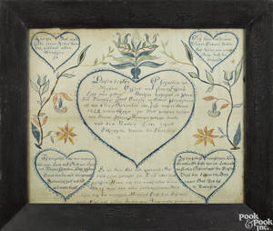 York County Pennsylvania ink and watercolor fraktur birth certificate