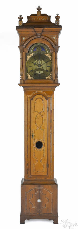 Important Lancaster Pennsylvania Queen Anne cherry tall case clock dated