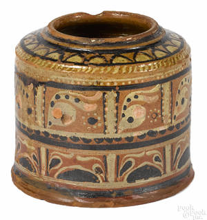 Montgomery County Pennsylvania redware canister ca 1800