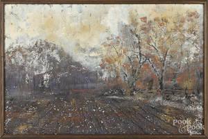 Oil on board wooded landscape