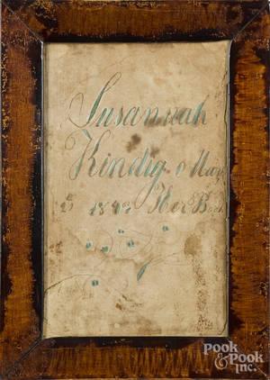 Pennsylvania ink and watercolor fraktur bookplate