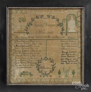New York silk on linen family record sampler