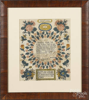 Printed and hand colored baptismal fraktur for Catharina Wolf