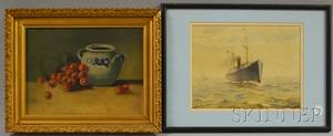 Two Framed Works AngloAmerican School 19th Century Portrait of a Steamship