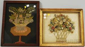 Two Framed Victorian Embroidered and Wirework Floral Panels