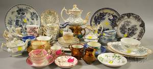 Twentyonepiece English Gilt and Transferdecorated Porcelain Partial Tea Service and Approximately Forty Pieces of Mostly English Cer