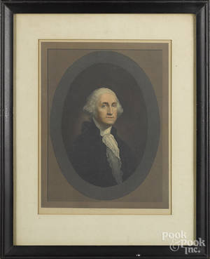 Pair of color engravings of George and Martha Washington