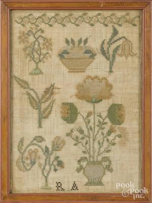 Two Pennsylvania silk on linen samplers