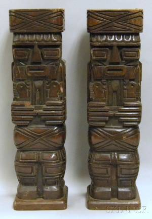 Pair of Modern Carved Wood Totemstyle Table Lamp Bases