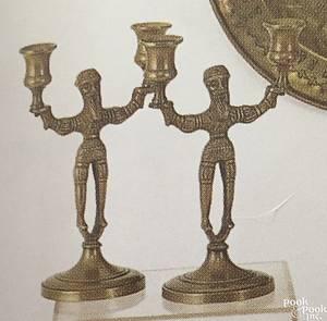 Pair of figural brass candlesticks ca 1900