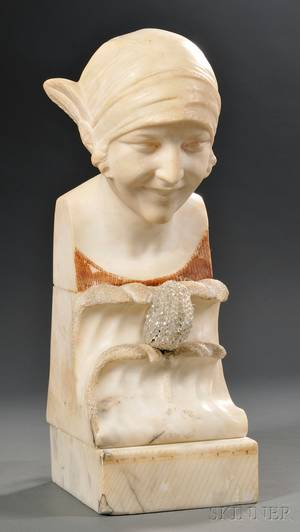 Art Deco Carved Alabaster Illuminated Bust of a Young Woman