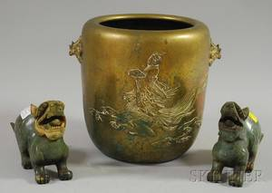 Asian Cast Brass Planter and a Pair of Chinese Carved Hardstone Foo Dogs
